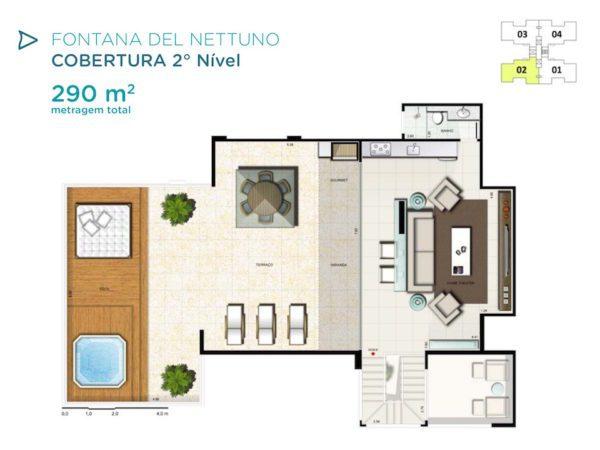 Acqua Galleria Nettuno Cobertura 290m2 Piso Superior
