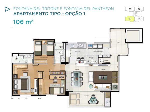 Acqua Galleria Tritone Pantheon Planta 106m2 opcao 1
