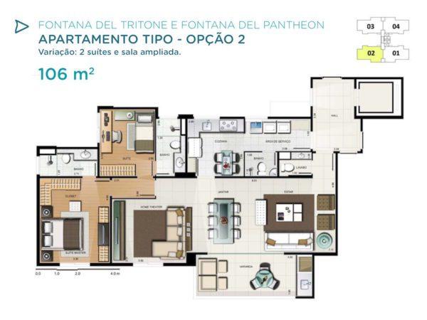 cqua Galleria Tritone Pantheon Planta 106m2 opcao 2