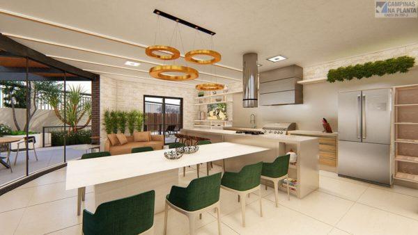 Perspectiva do Espaço gourmet com decoração moderna e requintada