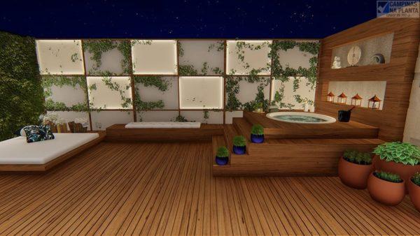 Perspectiva ilustrada com deck nos apartamentos Terrazzo