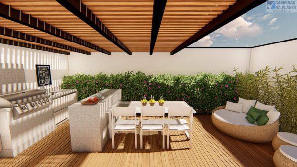 Perspectiva ilustrada com sugestão de decoração dos apartamentos Terrazo