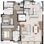 alto cambui planta apartamento cobertura duplex 245m² piso inferior