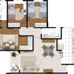 Planta humanizada de 80m² com 3 dormitórios (sendo 1 suíte)