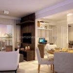 Perspectiva ilustrada da sala ampliada do apartamento de 80m²