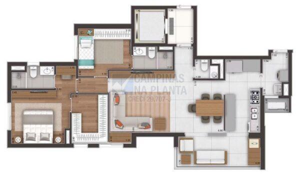 Ampliare Taquaral Planta Opcao 2 Suites Com Closet Na Suite Master Opcao 1