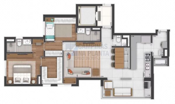 Ampliare Taquaral Planta Opcao 2 Suites Com Closet Na Suite Master Opcao 2