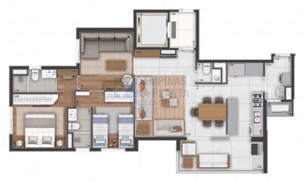 Ampliare Taquaral Planta Opcao 2 Suites Com Sala Intima Cozinha Fechada Opcao 1