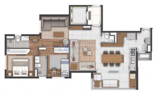 Ampliare Taquaral Planta Opcao 2 Suites Com Sala Intima Cozinha Integrada