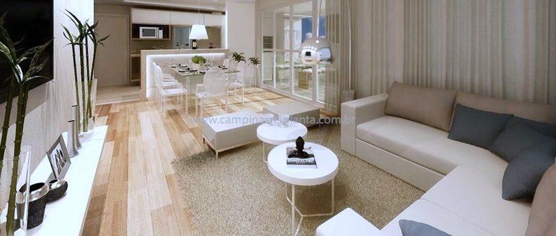 Perspectiva living ampliado do apartamento de 134m2