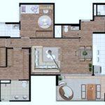 Planta de 134m2 com cozinha aberta e home office Art Vitta