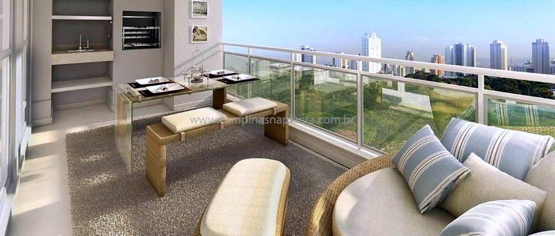 Perspectiva artística com sugestão de decoração do terraço do apartamento de 134m2 do Art Vitta Taquaral localizado no Art Park