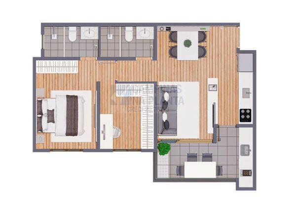 Biitencourt 678 Lancamento Planta 1 Dormitorio Com Closet Finais 1 8