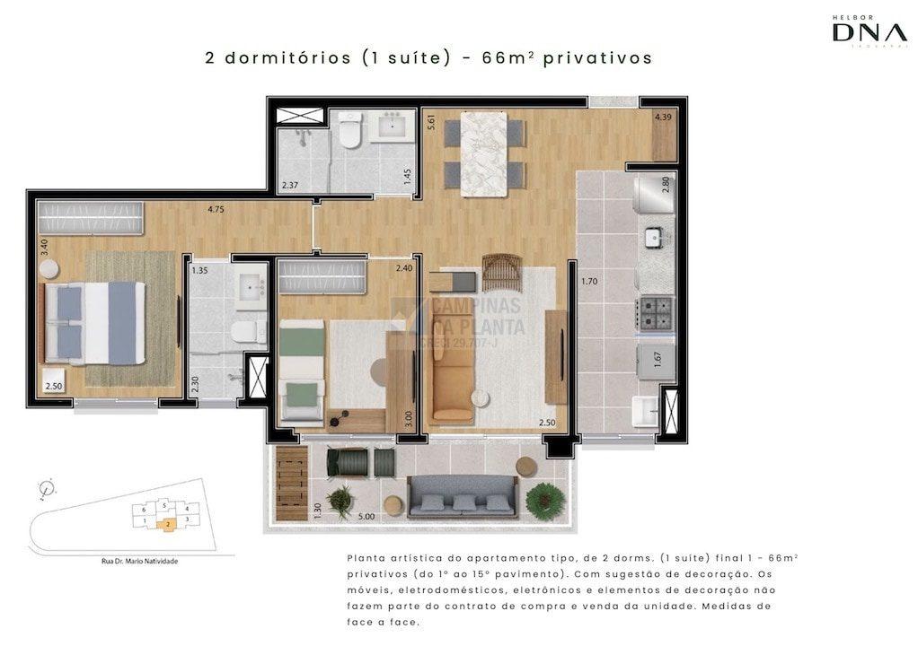 Dna Taquaral Planta 66 M2 2 Quartos 1 Suite