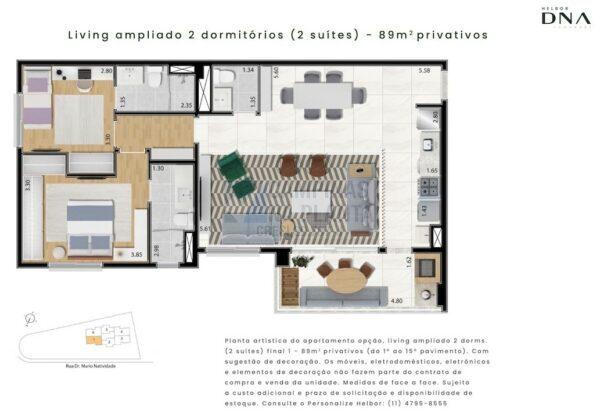Dna Taquaral Planta 89 M2 2 Suites Living Ampliado