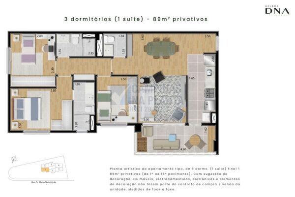 Dna Taquaral Planta 89 M2 3 Quartos 1 Suite