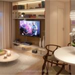 Perspectiva ilustrada do living do apartamento de 67m²