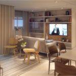 Perspectiva ilustrada do living do apartamento de 85m²