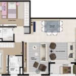 Planta opção humanizada de 85m² com 2 dormitórios (sendo 1 suíte)