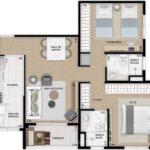 Planta humanizafa de 67m² com 2 dormitórios (sendo 1 suíte)