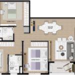 Planta padrão humanizada de 85m² com 3 dormitórios (sendo 1 suíte)