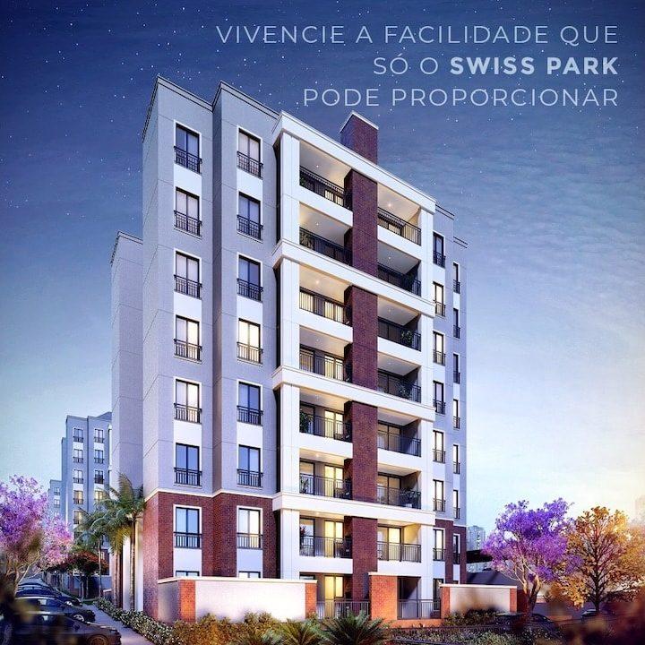 perspectiva ilustrada da fachada do Ecovila Genebra, apartamentos na planta no Swiss Park em Campinas