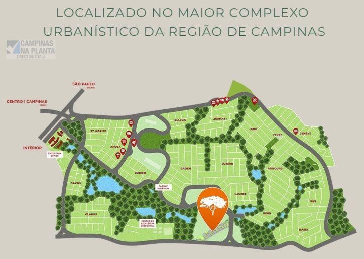 mapa ilustrativo do swiss park, região do breve lançamento Ecovila Genebra