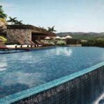 perspectiva do clube mostrando a piscina com borda infinita do entreverdes campinas lotes de alto padrão prontos para construir em Sousas