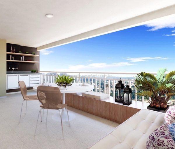 essence residencial perspectiva da varanda do apartamento de 78m²