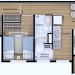 Planta humanizada do apartamento de 48m² com 2 dormitórios