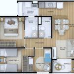Planta humanizada do apartamento de 58m² com 3 dormitórios (sendo 1 suíte)