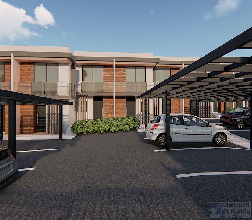 green view fachada e estacionamento, lançamento de casas na planta a 3 min da hípica campinas