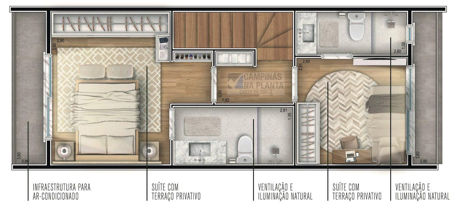 planta do pavimento superior das casas do green view