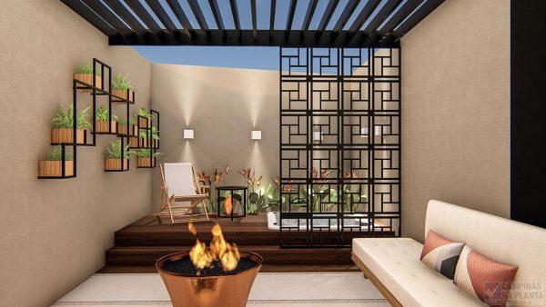 perspectiva ilustrada com sugestão de decoração do quintal das casas na planta do green view