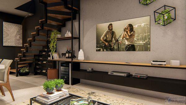 perspectiva com sugestão de decoração da sala de estar do green view próximo a hípica campinas
