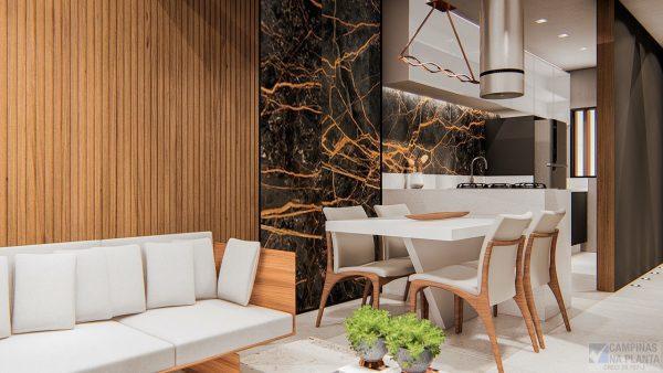 green view perspectiva ilustrada com sugestão de decoração da integração da sala com a cozinha