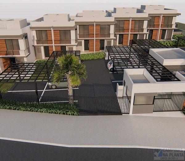 perspectiva aérea do condomínio green view casas na planta a 3 min da hipica campinas