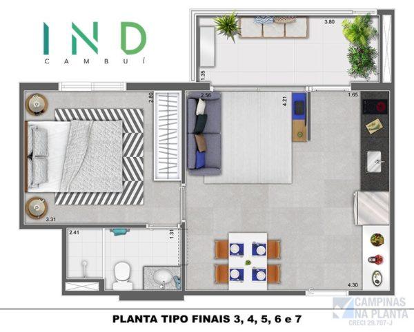 Planta 40,54m² do Ind Cambui lançamento em Campinas - SP