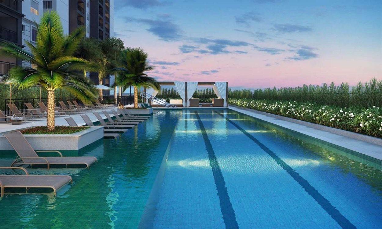 Perspectiva ilustrada da piscina do Living Celebration Taquaral