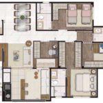Planta humanizada de 106m² com 4 dormitórios (sendo 2 suítes)