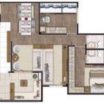 Planta humanizada de 83m² com living ampliado, 2 dormitórios (sendo 1 suíte)