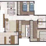 Planta humanizada de 83m² com 3 dormitórios (sendo 1 suíte)
