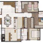Planta humanizada do piso inferior do apartamento duplex de 204m² (sendo ~47m² descobertos)