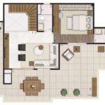 Planta opção humanizada do apartamento duplex de 204m² (sendo ~47m² descobertos)