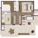 Planta padrão humanizada do piso superior do apartamento duplex de 204m² (sendo ~47m² descobertos)
