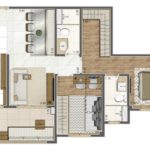 Planta 64m² do Elegance da Living