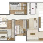 Planta 75m² do Living Elegance