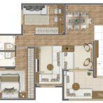 Planta 75m² Sala Ampliada do Living Elegance