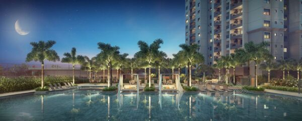 Living Grand Wish Nova Campinas Piscina Perspectiva Noturna