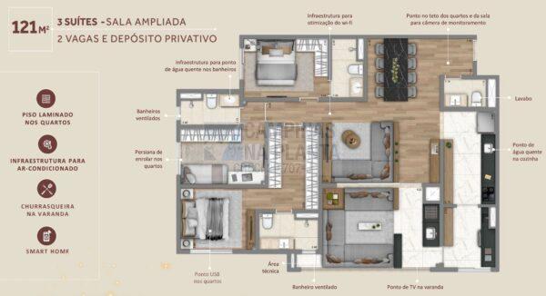 Living Grand Wish Nova Campinas Planta 121 M2 3 Suites Sala Ampliada